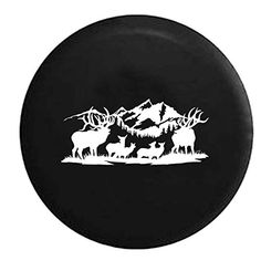 Wildlife Scene Deer Elk Buck Doe Rack Hunting Fishing Outdoors Spare Tire Cover OEM Vinyl Black 3233 in *** You can get more details by clicking on the image.