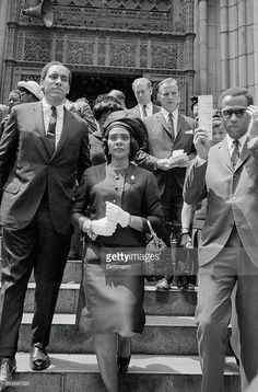 1968-06-09: Corretta King leaves St. Patrick's after Robert Kennedy's funeral.