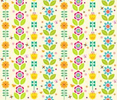 floral color fabric by heleenvanbuul on Spoonflower - custom fabric