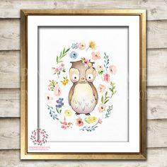 Boho Owl Watercolor Bohemian Blush Floral Woodland Nursery Baby Girl Room Printable Print Wall Art Decor