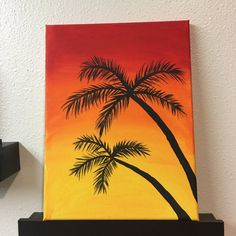 Palmtrees At Sunset Acrylic Art Canvas Painting by CanvasCanyonCo Small Canvas Paintings, Easy Canvas Art, Small Canvas Art, Easy Canvas Painting, Mini Canvas Art, Simple Acrylic Paintings, Oil Pastel Drawings, Oil Pastel Art, Canvas Painting Tutorials