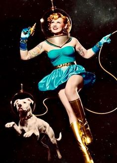 "Dedicated to all things ""geek retro:"" the science fiction/fantasy/horror fandom of the past including pin up art, novel covers, pulp magazines, and comics. Science Fiction, Pulp Fiction, Diesel Punk, Steam Punk, Rockabilly, Space Costumes, Space Girl Costume, Gato Animal, Pinturas Disney"