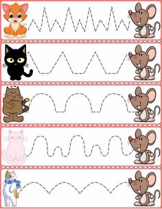 """<br> Trace The Pattern: Cats & Rats Cards. Help your child develop their pre-writing and fine motor skills with """"Trace the Pattern"""" printable cards. Print these out, cut them up, and then laminate for use with Expo markers and pens. Preschool Activity Sheets, Preschool Writing, Preschool Learning Activities, Alphabet Activities, Preschool Worksheets, Infant Activities, Pre Writing, Printable Cards, Fine Motor Skills"""