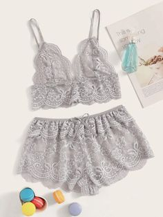 To find out about the Floral Lace Scalloped Trim Bralette With Shorts at SHEIN, part of our latest Sexy Lingerie ready to shop online today! Lace Lingerie Set, Lingerie Models, Women Lingerie, Sexy Lingerie, Cute Sleepwear, Loungewear Set, Sleepwear Women, Satin Cami Dress, Goddess Hairstyles