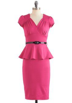 You're Such a Dahlia Dress - Long, Pink, Solid, Work, Cap Sleeves, Belted, Peplum, Film Noir, Sheath / Shift