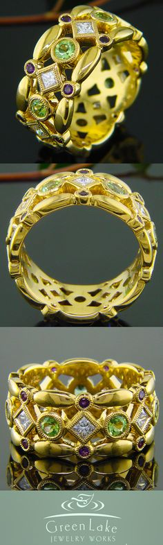 22k yellow gold mothers ring with birthstones