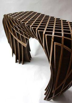Unique Furniture, Furniture Plans, Table Furniture, Furniture Design, Plywood Design, Plywood Projects, Parametric Design, Futuristic Furniture, Decoration