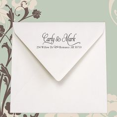 Really cute return address stamp. Would be great for wedding invitations or a wonderful wedding present.