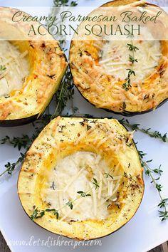 Creamy Parmesan Baked Acorn Squash