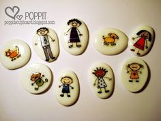 Story Stones--love this idea. Simply mod podge small paper items onto smooth stones and allow kiddo to use them to tell stories.