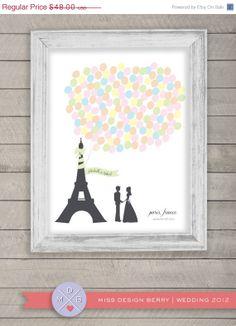 Love this Paris theme wedding guest book alternative  balloon bunch by MDBWeddings, $48.00