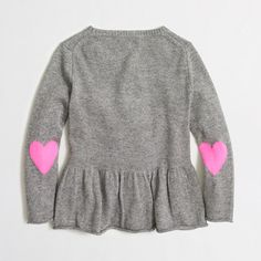 Factory girls' peplum popover sweater with heart elbow patches : wool-blend sweaters | J.Crew Factory