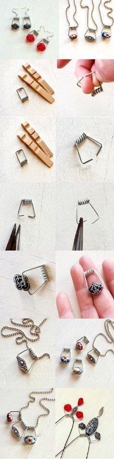 Ihr habt einen eurer Lieblingsohrringe verloren? Keine Sorge, macht doch einfach eine Kette daraus. Ihr braucht nur den Hänger oder Stein des Ohrrings, eine einfache Standard-Kette und eine herkömmliche Holz-Wäscheklammer :) Darüber hinaus lassen sich mit den Federn der Klammer und zwei Steinen auch Ohrring-Hänger herstellen #DIY