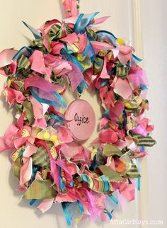 pink and blue ribbon wreath for office might be fun for a dorm room