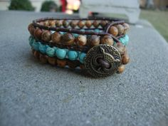 Turquoise Leather Wrap Bead Bracelet in a Cuff style Boho Chic   maddaisyjewelry - Jewelry on ArtFire