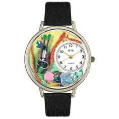 Scuba Diving Black Skin Leather And Silvertone Watch #U0810016 - http://www.artistic-watches.com/2013/02/24/scuba-diving-black-skin-leather-and-silvertone-watch-u0810016/