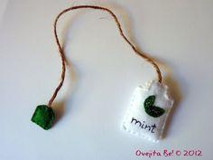 Tea bag felt bookmark - Mint