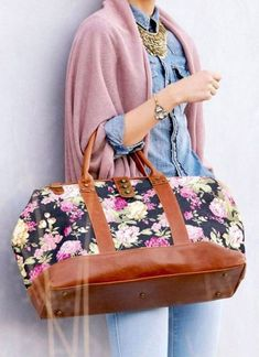 floral-weekend-bag- Bowling bags for women http://www.justtrendygirls.com/bowling-bags-for-women/