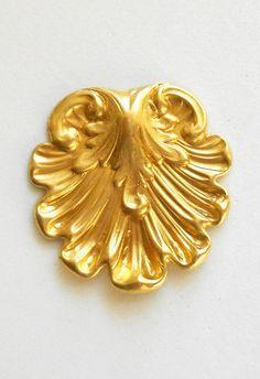 1 raw brass stamping ornate art nouveau by GloriousGlassBeads