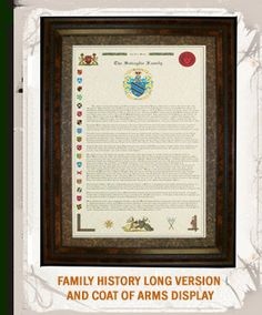 Family History Long Version and Coat of Arms Display for the husband who is proud of his name. $59.99