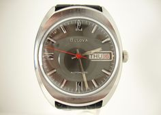 Vintage c1973 Bulova Men's Day and Date Watch, Running Auto 17 Jewels, NOS Band #Bulova