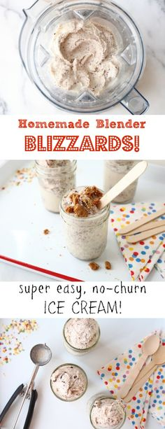 Easiest-ever homemade blizzards! These light and refreshing homemade blizzards are made with just three ingredients (plus your favorite add-ins) right in the Vitamix or food processor—no ice cream maker required! Vitamix Ice Cream, Blender Ice Cream, Ice Cream Maker, Recetas Vitamix, Vitamix Recipes, Blender Recipes, Vitamix Blender, Ninja Blender, Frozen Desserts