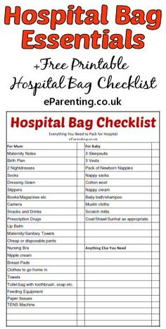 Free Printable Hospital Bag Checklist - What to Pack For Hospital When Giving Birth.