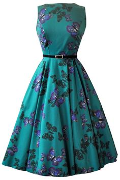 Teal Green Butterfly Hepburn Dress - £45. Made in London. Sizes 8-28.