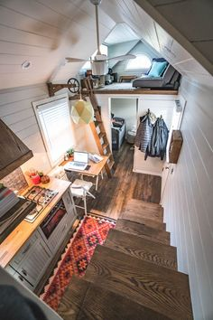 Little Bitty Tiny House – Tiny House Swoon This family of three built their tiny house in North Carolina with one of the lofts serving as a living room. Tiny House Swoon, Tiny House Plans, Small Room Design, Tiny House Design, Loft Design, Design Design, Tiny Houses For Sale, Little Houses, Tiny House Listings