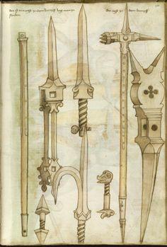 """Scomposizione delle porzioni componenti un MARTELLO D'ARME; tratto da HANS TALHOFFER, """"Alte Armatur und Ringkuns"""", 1459 (Royal Library, Copenhagen)"""