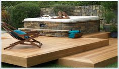 SpaStone full surround above-ground spa steps and hot tub deck