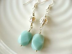 Lekre øredobber i sølv og amazonit Er 5, Pearl Earrings, Drop Earrings, Aqua, Pearls, Elegant, Jewelry, Fashion, Stone