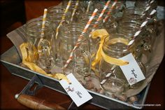 Just waiting to be filled with warm apple cider or cocoa! Handled Mason Jar Mugs & our Yellow, Pumpkin & Dark Brown Paper Straw. Mason Jar Mugs, Mason Jar Drinks, Fall Harvest Party, Autumn Harvest, Mason Jars With Handles, Warm Apple Cider, Drinking Jars, Oktoberfest Party, Canning Jars