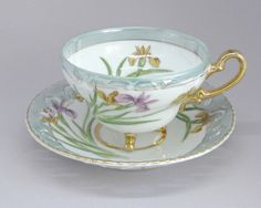 Vintage Footed Teacup Saucer • Hand Painted Iris • Blue-Green White Gold Trim…