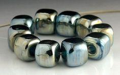 Metallic Aqua Blue Lampwork Glass Cube Beads by Karolen Deupree