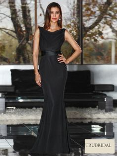 Scoop Black Chiffon Drop Waist Floor Length Bridesmaid Dresses
