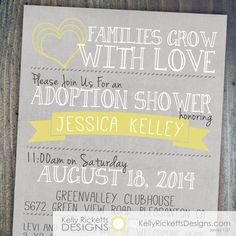 Adoption Shower Invitation - International, private or foster adoption for a baby or older child. by KellyRickettsDesigns.com