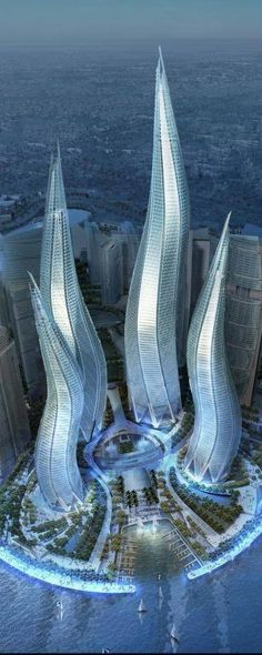"Hm, looks like tentacles. No? ""Dubai Towers, The Lagoons in Dubai, UAE, by Thompson, Ventulett, Stainback & Associates (TVS) Architects :: 57 floors, height 550m :: vision"""