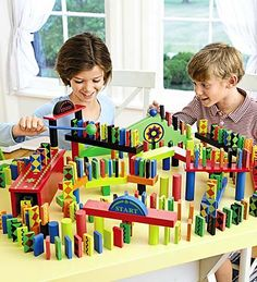 I think I could do this with wooden blocks we already own and some domino sets. Kids would love it!