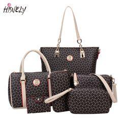 078f87419bde HISUELY 6 Sets Women Bone Pattern Handbag Shoulder Bag Crossbody Bag  Composite Bags Designer Lady Famous