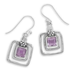 Sterling Silver Cut Out Square AMETHYST by ForsgateJewelry on Etsy