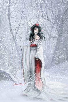 雪女, that strange Japanese youkai with black hair, blue lips, and icy breath. Japanese Mythology, Japanese Folklore, Yuki Onna, Pagan Festivals, Pokemon Dolls, Snow Maiden, Modern Kimono, Fox Art, Doll Repaint