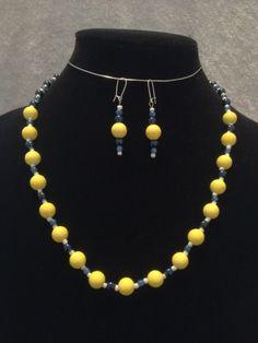 Lemon Prussian Blue White Necklace & Earring by DoodleDiffDesigns, $22.00