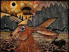Hare-brained. Linocut