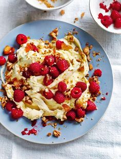 This visually stunning dessert recipe for English Raspberries with Crema di Mascarpone and Almond Croquante is taken from Theo Randall's My Simple Italian cookbook. The irresistible combination of sweet, pillowy mascarpone cream, crunchy almond croquante and tangy fresh raspberries is sure to delight your dinner guests. This is the perfect dessert to round off an elegant Easter or early summer meal.