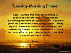 Tuesday Morning Prayer ⋆ Our Father Prayer - Christians United in Faith Prayer Message, Prayer Scriptures, Prayer Quotes, Today's Prayer, Prayer Room, Happy Tuesday Morning, Happy Tuesday Quotes, Prayer For Fathers, Prayer For Today