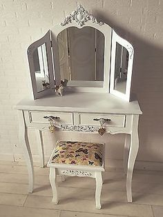 NEW White Shabby Chic Dressing Table Rose Knobs, Triple Mirror, Butterfly  Stool