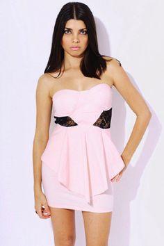 club l peplum dress with lace insert