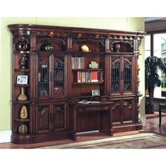 The Parker House Barcelona Deluxe Library Desk with Bookcase Set offers stunning entertainment, home office, and library furniture in a timeless Spanish Revival style. This wall offers the mixed function of Entertainment, Center, Home Office or Bookc Rustic Living Room Furniture, Bar Furniture, Home Office Furniture, Antique Furniture, Library Furniture, Dream Furniture, Furniture Movers, Dining Rooms, Wine Bar Cabinet
