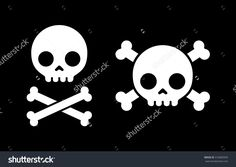 "Simple Cartoon Skull And Crossbones Icon, Two Variants. Halloween Design Element Or Classic ""Jolly Roger"" Pirate Flag. Illustration vectorielle libre de droits 316882835 : Shutterstock"